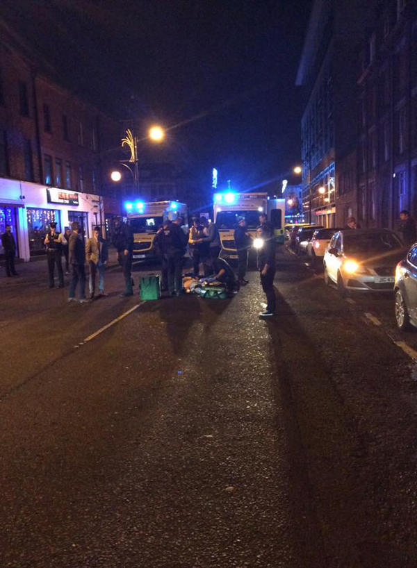 Emergency services at the scene in Donegall Pass on Saturday night