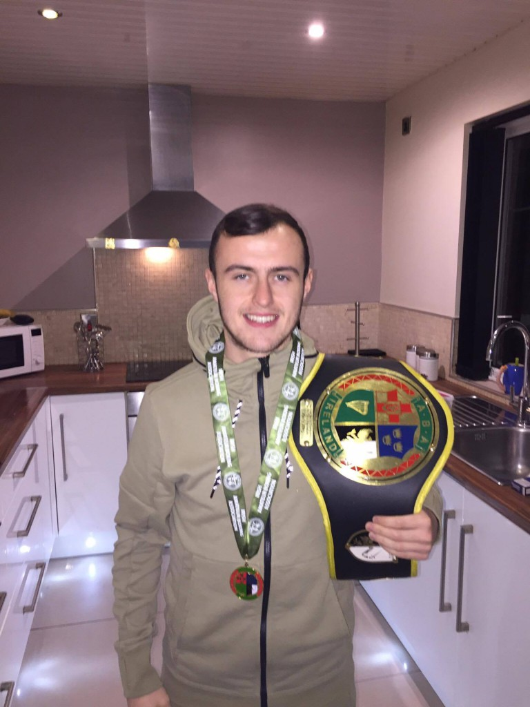 Connor Kearney, with his 49kg belt after winning the Irish Intermediate title, has blasted the circumstances which led to his opponent Leigh Moran being granted a walkover in the Irish U22 Championship in Dublin last weekend