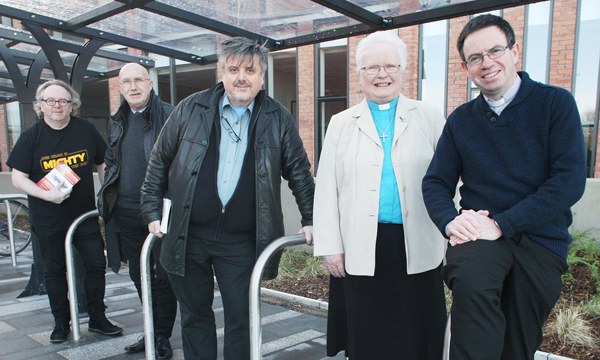 REACHING OUT: Fr Martin Magill (right) with fellow clergy at last year's Four Corners religious festival