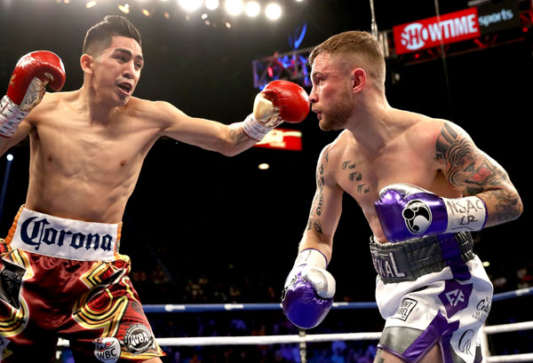 Leo Santa Cruz earned a points decision victory over Carl Frampton at the MGM Garden Arena in Las Vegas on Saturday night