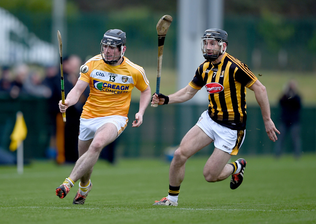 Antrim's Ciaran Clarke steels a march on Kilkenny's Conor Fogarty during Sunday's Walsh Cup clash at Abbottstown