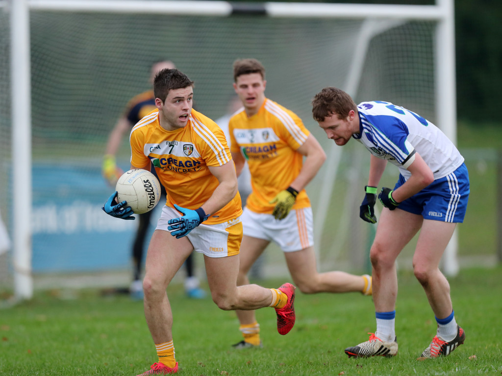 Antrim's Paddy McBride, was one of two players shown black cards during Wednesday night's Dr McKenna Cup defeat to Fermanagh