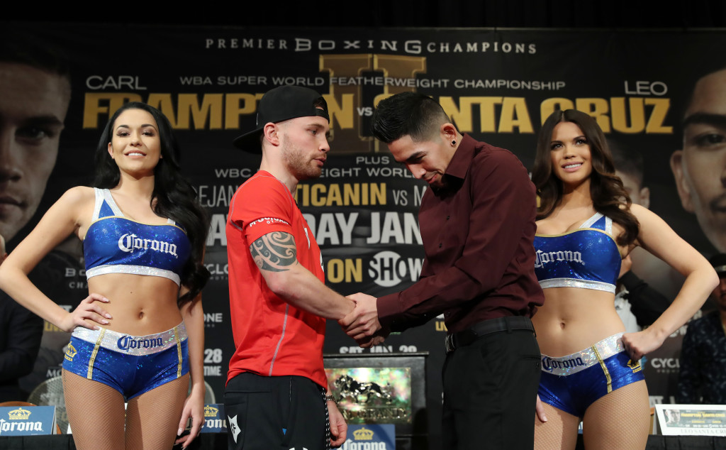 ac9dcfed Carl Frampton and Leo Santa Cruz during Thursday's press conference at the  MGM Grand Hotel and Casino, Las Vegas. Photo William Cherry/Presseye