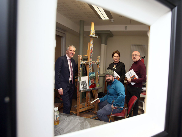 In the frame are Finance Minister Máirtín Ó Muilleoir,  Arts Council CE Roisin McDonough and the Reverend Bill Shaw with artist Barry Kerry in the Duncairn Arts Centre