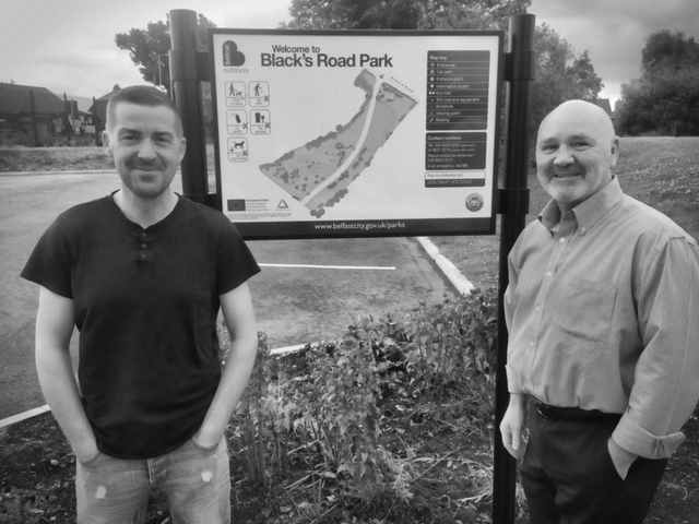 Cllr Matt Garrett and former South Belfast MLA Alex Maskey at the formerly derelict Blacks Road site where work has begun, below, on a state-of-the-art play park and sensory/therapy garden