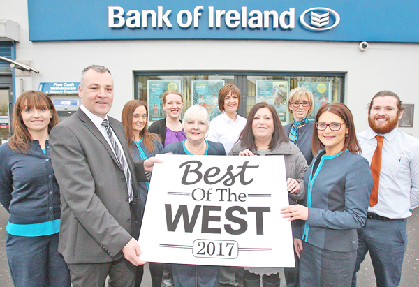 Bank of Ireland staff Michelle Schreuder, Michael Pucci, Clare McMorrow, Bronagh McLoughlin, Olive Benson, Denise Marley, Anne Marie Fallon, Elaine McAuley and Ciaran Flaherty with Jacqueline O'Donnell from the Belfast Media Group