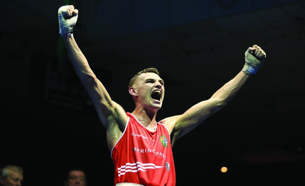 Sean McComb celebrates his victory over Wayne Kelly