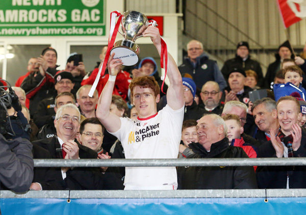 DIVISION ONE BET :  Tyrone's Peter Harte lifts the Dr McKenna Cup after Saturday's nine-point win over Derry in Newry. The Red Hands are a decent shout at 4/1 to finish top of the NFL Division One standings