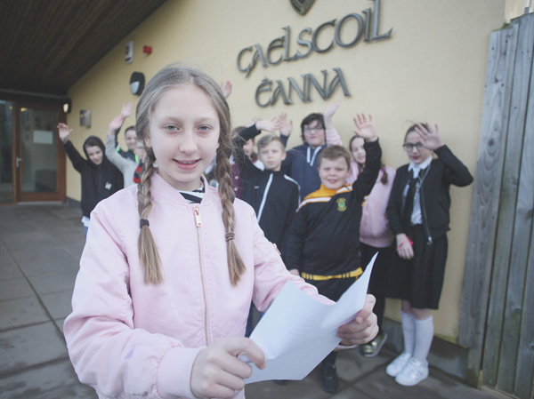 APPEAL: Martyna Borysowska with her primary seven classmates from Gaelscoil Éanna