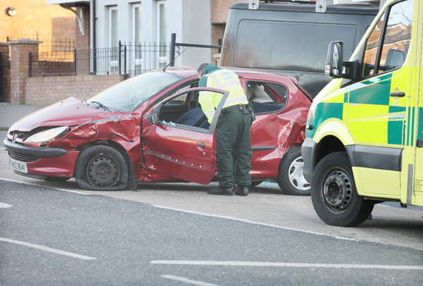 The red Peugeot 206 careered into a van in the early-morning incident witnessed by a local