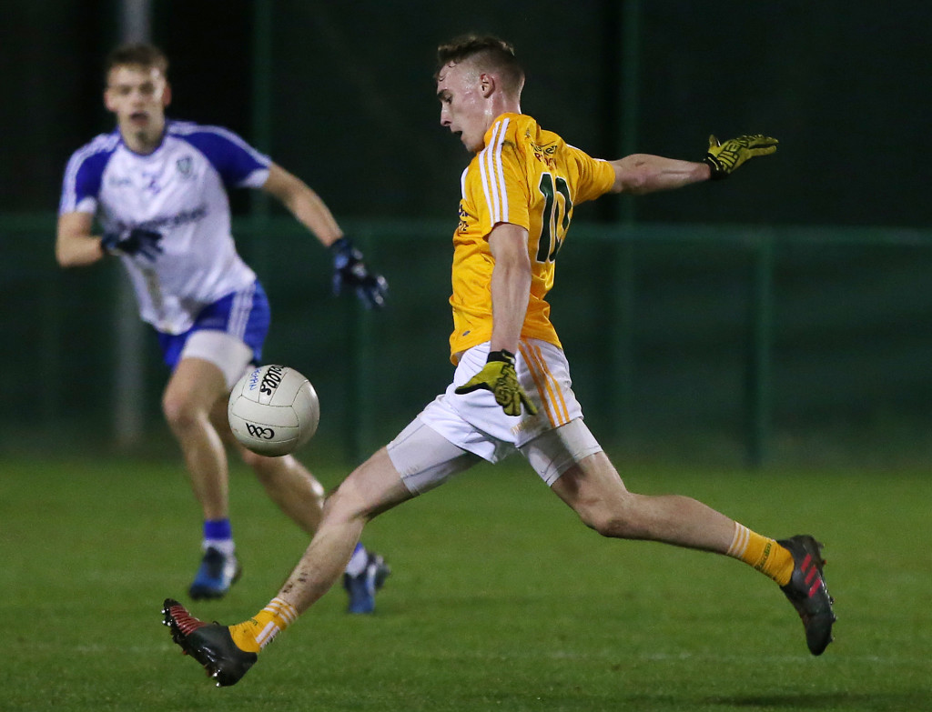 Antrim's Seamus McGarry could be in line to make his senior NFL debut against Laois this Sunday after scoring 0-8 in last week's U21 Football Championship loss to Monaghan Ulster U21 Championship.  Antrim Vs Monaghan at QUB's Dub pitches in South Belfast.   Antrim's Seamus McGarry lays the ball up to score a point.   Photo by Jonathan Porter / Press Eye.