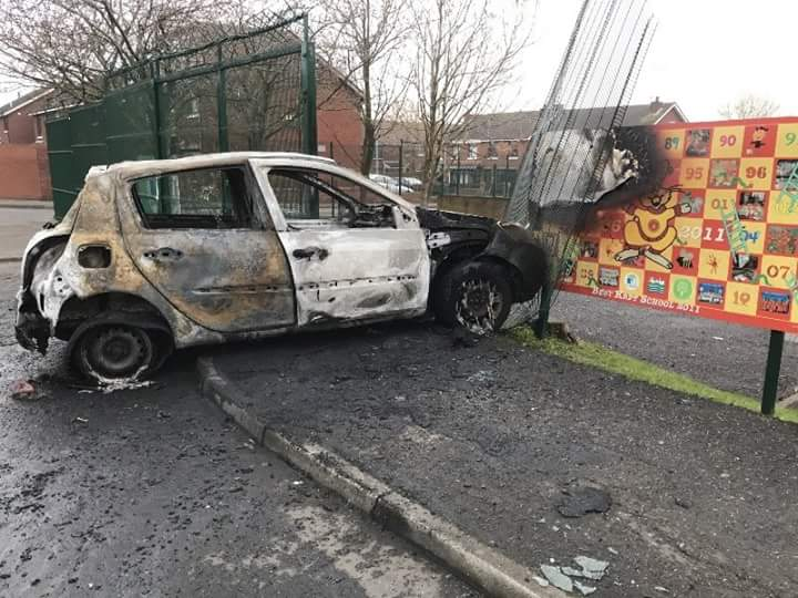 The car that crashed into St Peter's Nursery School in the early hours of Tuesday morning