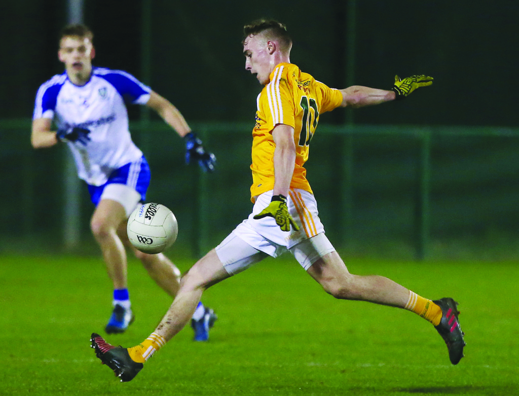 Antrim's Seamus McGarry could be in line to make his senior NFL debut against Laois this Sunday after scoring 0-8 in last week's U21 Football Championship loss to Monaghan