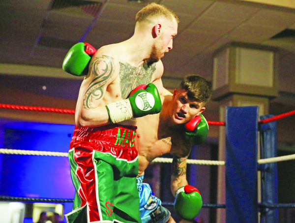 Sean Magee in action against Lee Clayton in their exhibition bout on Saturday