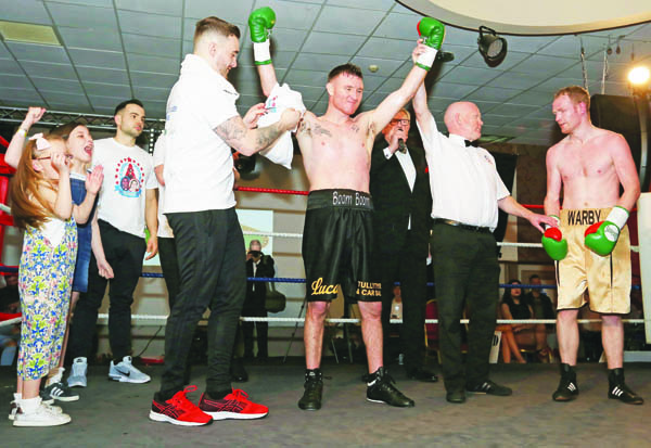 Gerard Healy celebrates his victory over William Warburton at The Devenish on Saturday