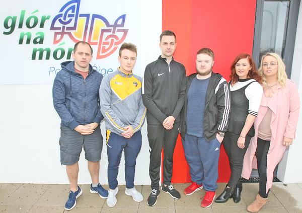 Staff at Glór na Móna, Feargal Mac Ionnrachtaigh (Glór na Móna Director), Conchúr Mac Siacais (Youth Worker), Conchúr Ó Muadaigh (Youth Worker), Gerard Mac Aonghasa (Youth Worker), Dearbhla Ní Ruanaigh (Youth Worker) and Orliath Mhic Leannáin (Youth Co-Ordinator) are shocked over the funding cuts