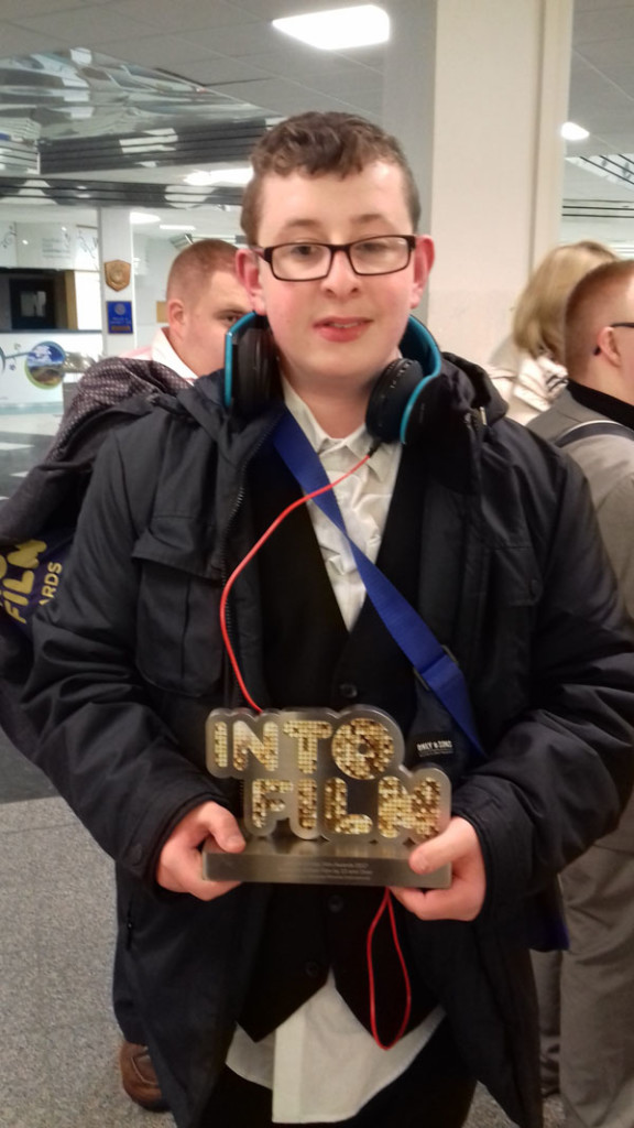 Odhrán Darragh with the IntoFilm award won by the short film in which he appeared, which highlights the reality of living with autism and learning disabilities. My Not So Ordinary Life won Best Live Action 13+ gong at the prestigious ceremony in London