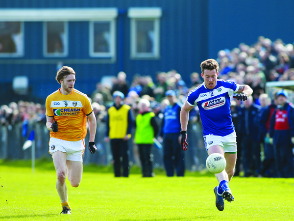 Stephen Beatty in action for Antrim against Laois in this year's National Football League