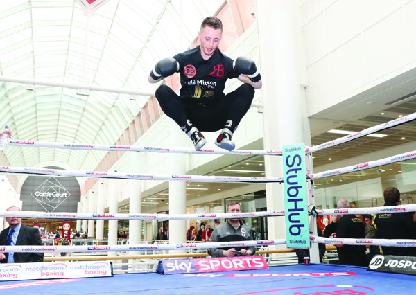 FLYING HIGH: Ryan Burnett said he is enjoying the build-up to his world title shot on June 10 at Monday's public workout