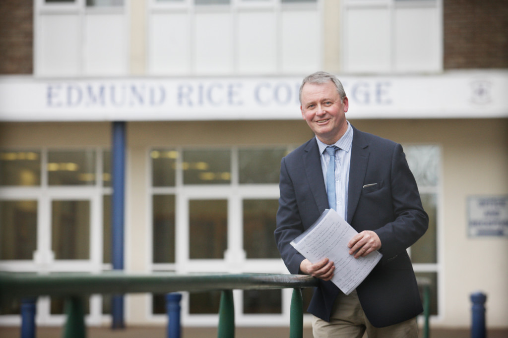 TWIN PATHS: Paddy McMeekin,  the head of pastoral care at Edmund Rice College, looks back on his career on the 40th anniversary