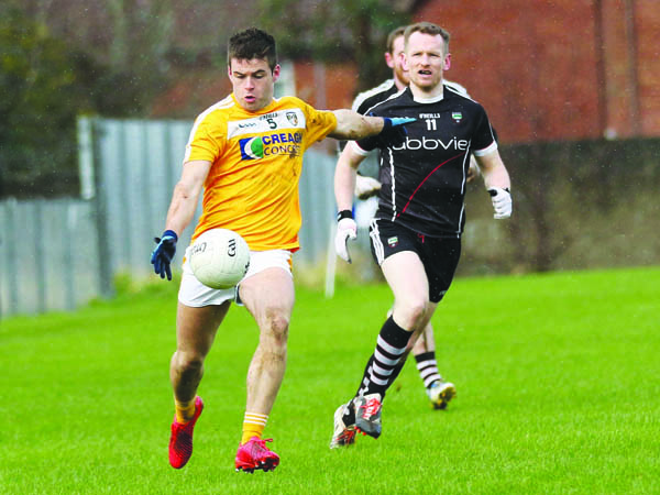 Paddy McBride in action against Sligo in the meeting between the counties back in March when Antrim scored a one-point victory