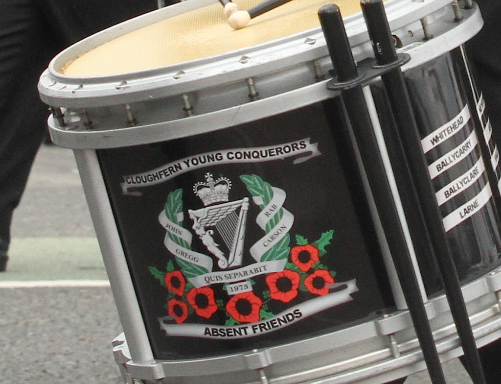 The names of UDA leaders John Gregg and Rab Carson, which adorned the drums and uniforms of the Cloughfern Young Conquerors band in 2015