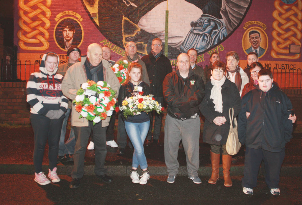 Relatives of the New Lodge Six at the memorial to the murdered men on the New Lodge Road