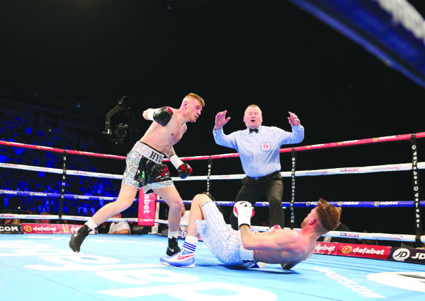 Paul Hyland Jnr sends Adam Dingsdale to the canvas for the second time on Saturday