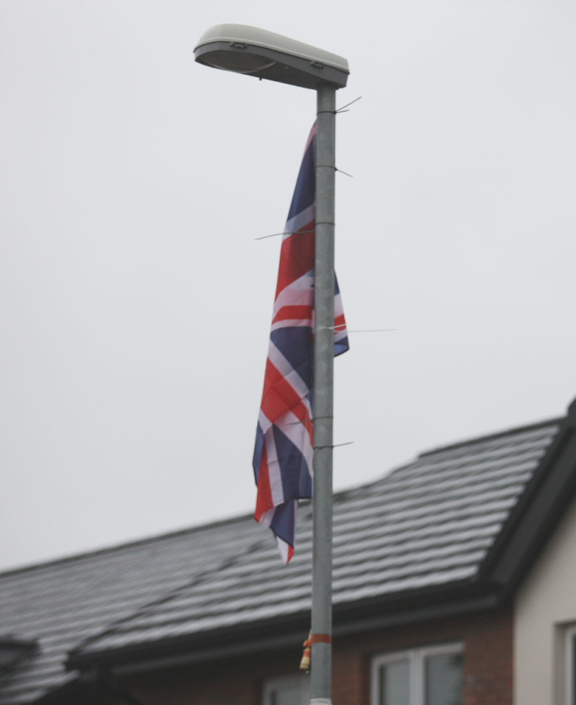 ANGER: A union flag erected at the shared housing in the Glandore area