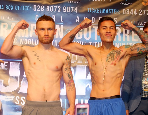 Carl Frampton and Andres Gutierrez after today's weigh-in at the Europa Hotel
