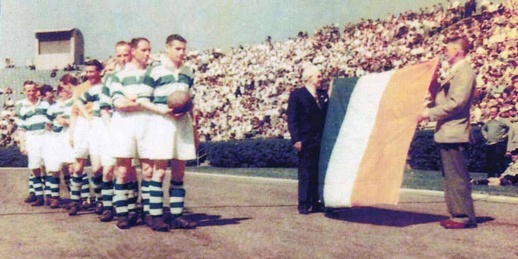 GRAND OLD TEAM: Belfast Celtic line out before a match in New York during their famous tour of the US in May 1949