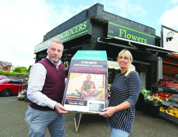 APPEAL: David O'Hare from Trócaire and Kelly O'Hare at Fortwilliam Greengrocers whose customers contributed to the charity's East Africa appeal