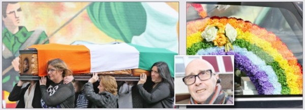 SADLY MISSED: John Leathem's remains are carried on the Falls Road for the final time; inset, John Leathem