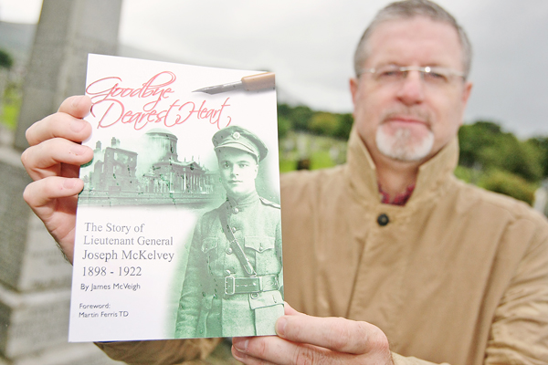 LAUNCH: Jim McVeigh with his book, Goodbye Dearest Heart, The Story of Lieutenent General Joseph McKelvey 1898-1922