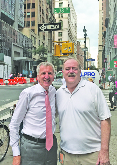DISCUSSIONS: Máirtín Ó Muilleoir MLA on Madison Avenue, New York, with AOH Political Education Chairman Neil Cosgrove