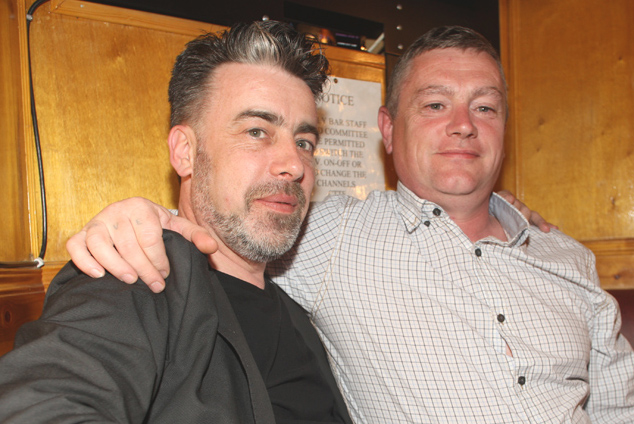 Ruairi De Búrca, left, with Paddy Travers in the Ardoyne Working Men's Club