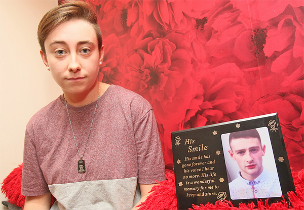 CAMPAIGN: Rachael Garland with a tribute to tragic young local father Christopher Meli