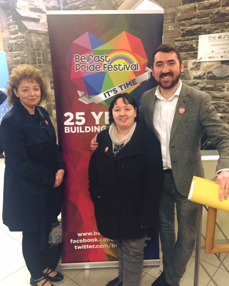 RECOGNITION: Carál Ní Chuilín, Mary Ellen Campbell and Pride board member, Dwayne Farrell