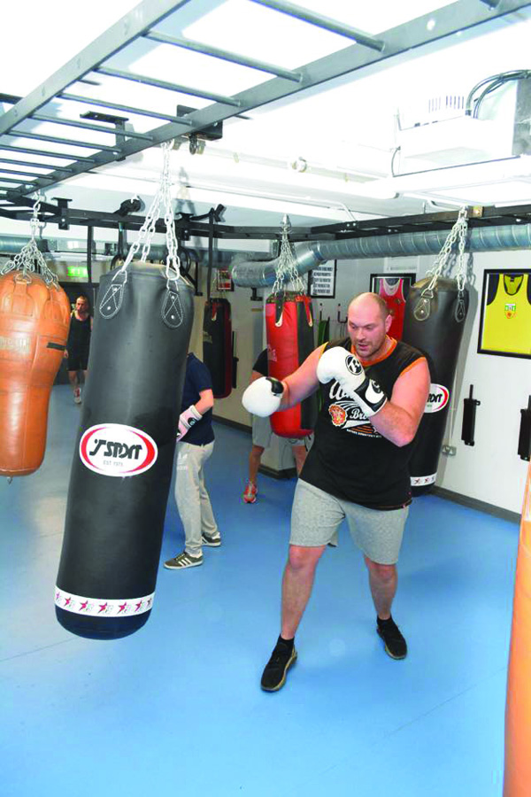 Tyson Fury does some bag work at St Paul's on Monday (Pic by Hugh O'Halloran/Belfast Boxers)