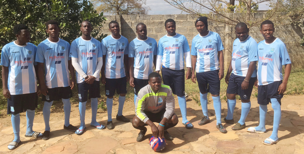 BRAID IN AFRICA: The Chibombo team with the smart new kit donated by Ballymena