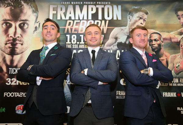 Carl Frampton is joined by Jamie Conlan and Paddy Barnes who will also be in action on November 18 at the SSE Arena Picture by Jonathan Porter/PressEye.com