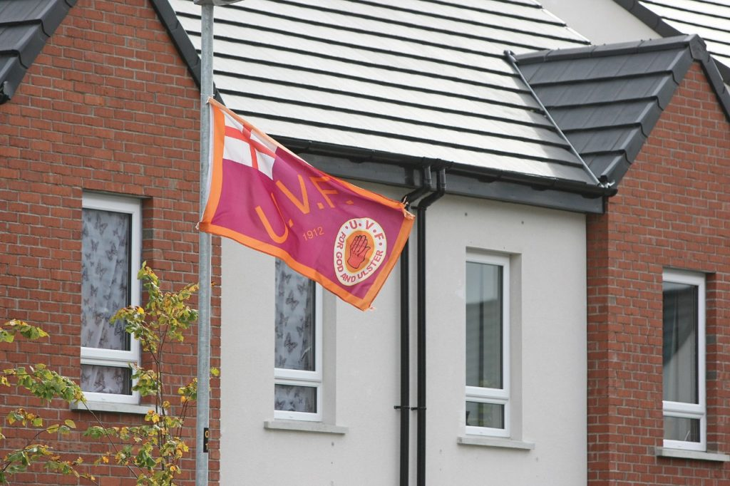 INTIMIDATION: Cantrell Close, where the Catholic families were forced to flee, still had UVF flags flying yesterday, Thursday