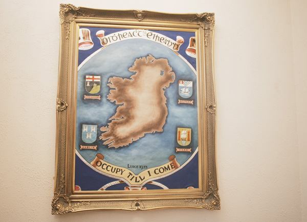 IDENTITY CRISIS: This painting of Ireland in the Orange Hall in Clifton Street is headed Oidhreacht na héireann, which translates as Ireland's Heritage