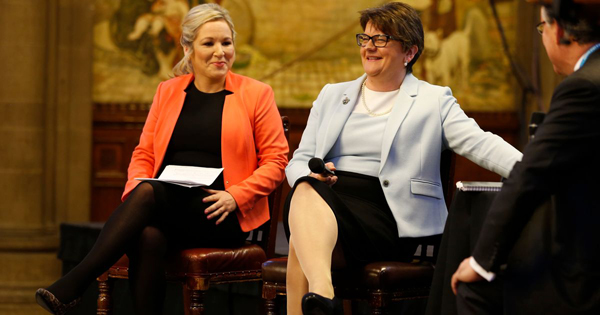 Sinn Fein leader in the North, Michelle O'Neill, and DUP leader Arlene Foster clashed at the Conservative Party conference.