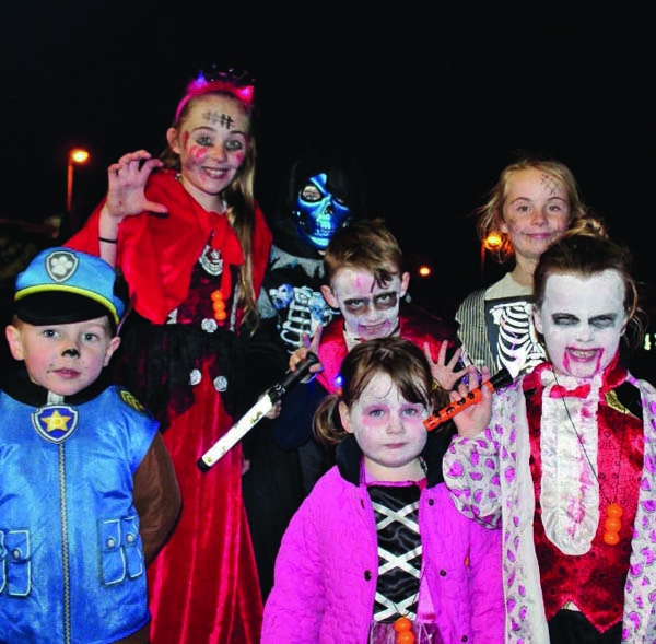 Kids from the Smith and Mulholland families at Colin Neighbourhood Partnership Halloween last year