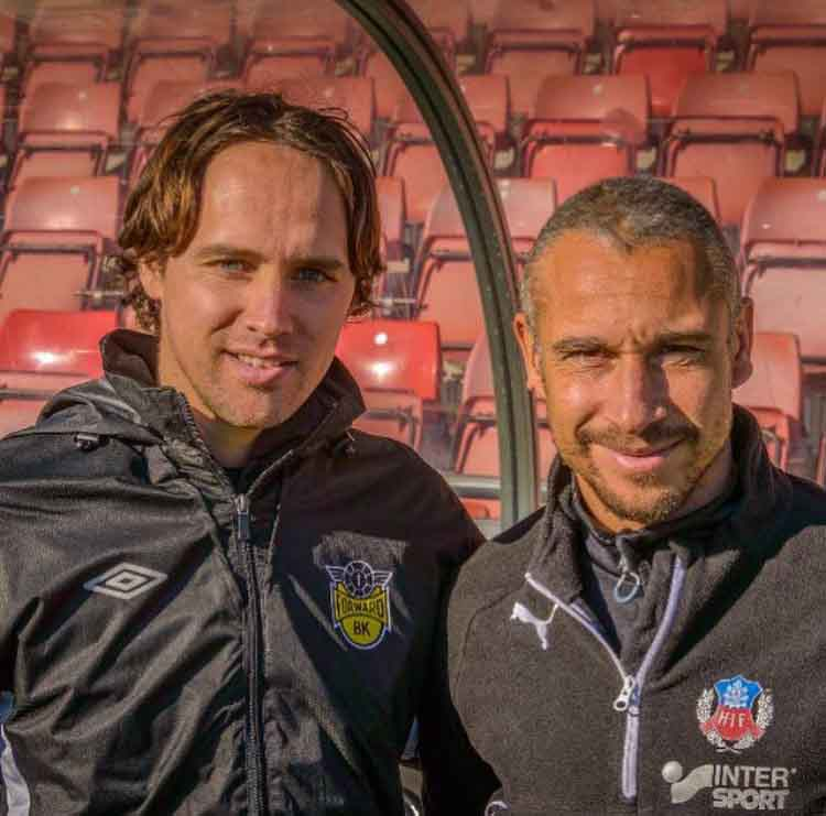 Örebro SK U19 manager Paul Munster, pictured with Swedish football legend and Helsingborg coach Henrik Larsson, said he is unsure if he will remain in Sweden when his contract expires next month despite helping his side claim the U19 Swedish Cup