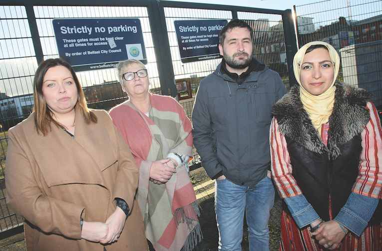 RESOLUTE: Councillor Deirdre Hargey, local resident Bernie Davison, with Pádraig Ó Meiscill and Azadeh Sobout of the Market Development Association at the land near the Gasworks