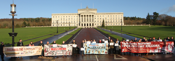 Relatives of atrocities victims at the Stormont protest