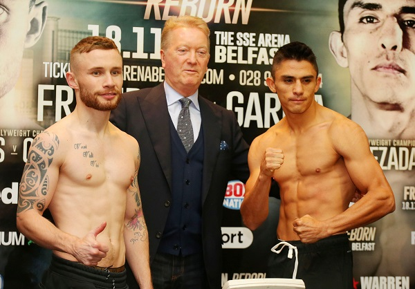 Carl Frampton, promoter Frank Warren and Horacio Garcia at today's weigh-in  Picture by Jonathan Porter/PressEye.com