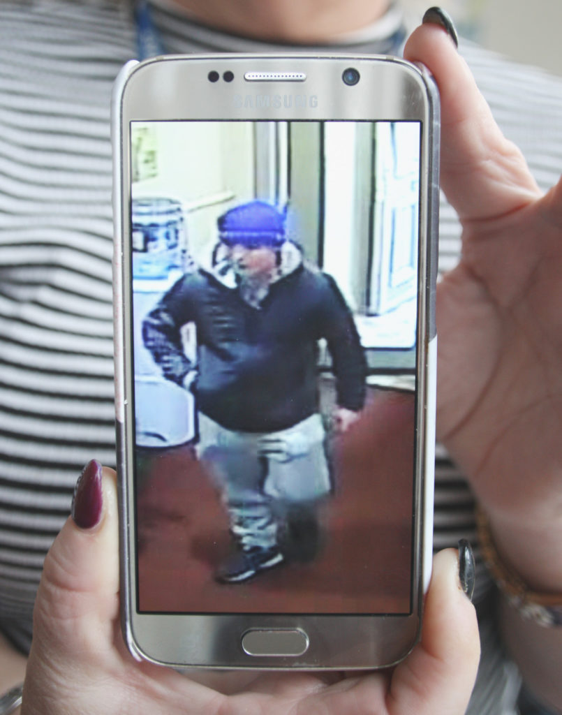WANTED: A CCTV image of the intruder on a PIPS worker's phone